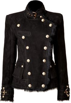 Love Balmain Shop for Shearling Double-Breasted Jacket in Black by Balmain at ShopStyle. Now for Sold Out. Cool Outfits, Fashion Outfits, Womens Fashion, Mode Steampunk, Double Breasted Jacket, Military Fashion, Military Style, Military Jacket, Looks Style