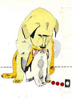 Cat and dog love greeting card illustration/design иллюстрац Harry Potter Illustrations, Tiny Cats, Modern Artwork, Dog Artwork, Collage, Dog Illustration, Cute Friends, Cat Art, Dog Love