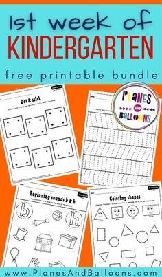 First week of kindergarten worksheets FREE bundle - Planes & Balloons