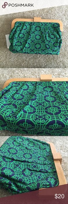 Old Navy Frame Clutch Bag Tile Print Canvas Gorgeous, brand new bag from Old Navy. Features a beautiful tile medallion print in green and navy. Canvas fabric on a wood frame. This is a clutch but it is mid-sized and will fit all of your daily necessities. Fully lined. I cannot overstate how beautiful this pattern is. So lovely. Old Navy Bags Clutches & Wristlets