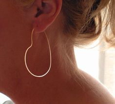 Gold Heart Hoop Earrings Large Gold Heart Hoops by BlueWaveJewelry, $42.00 -so beautiful and perfect size i will be wearing everyday-