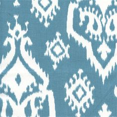 """Raji Regatta Cotton Drapery Fabric by Premier PrintsV.Repeat: 12.5""""Width: 54"""" to 56""""Description: This is a pop modern Ikat print cotton drapery fabric in blue and white. It will make up into awesome drapes, bedding,pillows,tableskirts and even lightweight upholstery. It would make eye catching cornice boards and headboards. Drycleaning recommended. v114TNFThis item usually takes one week to ship. No samples available."""