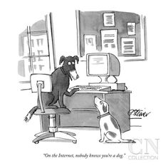 """On the Internet, nobody knows you're a dog."" - New Yorker Cartoon Poster Print by Peter Steiner at the Condé Nast Collection"