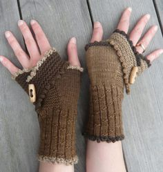Free Knitting Pattern for Wharariki Beach Mitts - These fingerless mitts feature a decorative flap that is knit flat using short rows. It shapes the upper part of the hand and defines the thumb hole when folded over. Sport yarn. Designed by Sabine Kastner