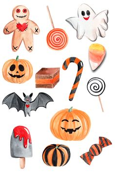 watercolor halloween set - Realty Worlds Tactical Gear Dark Art Relationship Goals Halloween Cartoons, Retro Halloween, Happy Halloween, Halloween Doodle, Halloween Clipart, Halloween Painting, Halloween Stickers, Halloween Party Decor, Scary Halloween