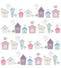 white space creative design birdhouse surface pattern
