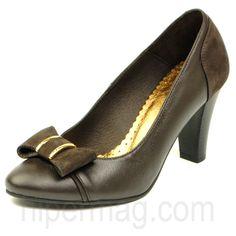 Романтични дамски обувки в тъмнокафяв цвят