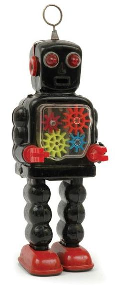 Yoshiya high wheel robot, Japanese, circa 1960s, black and red… One of several toy robots we had in the 60s.