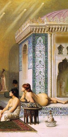 Hand painted reproduction of Pool in a Harem This masterpiece was painted originally by Jean Leon Gerome. Jean Leon, Classic Paintings, Pre Raphaelite, Erotic Art, Portrait, Female Art, Les Oeuvres, Vintage Art, Art Drawings