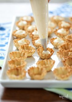 Mini Blueberry Cheesecakes made with Phyllo Cups #mini #blueberry #cheesecake #phyllo #dessert #bitesized #recipe Mini Blueberry Tarts, Blueberry Desserts, Blueberry Sauce, Blueberry Cheesecake, Cheesecake Recipes, Dessert Recipes, Phyllo Cups, Phyllo Dough, Phyllo Recipes