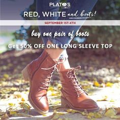 We have a huge variety of boots to shop. When you buy 1 pair of boots get 50% off a long sleeve shirt. Be sure to stop by and shop for fall.  We are open 10am - 4pm today. http://ift.tt/2vZJgNl - http://ift.tt/1HQJd81