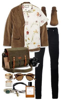 """""""Inspired by Harry Styles"""" by nikka-phillips ❤ liked on Polyvore featuring Yves Saint Laurent, Diesel Black Gold, L.L.Bean, Gucci, Moscot, Topman, Loren Stewart, Degs & Sal, Helmut Lang and men's fashion"""
