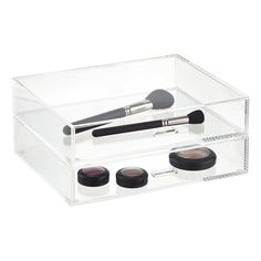 Acrylic Box Drawers A Versatile Box With Three Pull Out - Container store makeup organizer