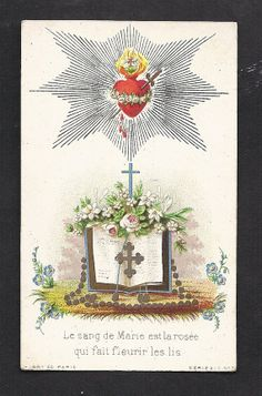 """Antique """"The blood of Mary is the dew that makes the lilies blossom."""" Beautiful RARE French Holy Card of The Blood of The Virgin Mary."""