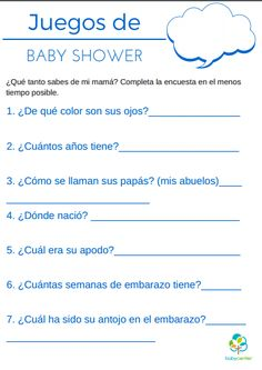 Juegos para Baby Shower: plantillas para imprimir