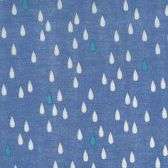 L's modern double gauze: blue raindrops