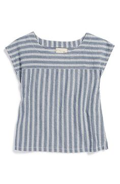 Peek 'Loni' Stripe Cotton Top (Toddler Girls, Little Girls & Big Girls) Kurti Neck Designs, Blouse Designs, Sewing Blouses, Couture Tops, Stripes Fashion, Short Tops, Fashion Sewing, Clothing Patterns, Kids Clothing