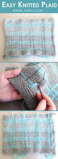 Create easy knitted plaid with this simple technique! No intarsia necessary. Create easy knitted plaid with this simple technique! No intarsia necessary. Knitting Help, Loom Knitting, Knitting Stitches, Hand Knitting, Simple Knitting, Knitting Patterns, Crochet Patterns, Webs Yarn, Yarn Store