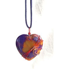 Natural Stone Heart Necklace, crescent moon copper jewelry purple red... ($21) ❤ liked on Polyvore featuring jewelry, necklaces, red heart jewelry, purple heart necklace, heart shaped jewelry, purple jewelry and carved necklace