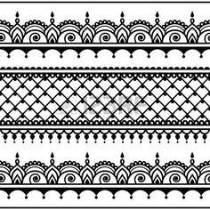 Indian Seamless Pattern, Design Elements - Mehndi Tattoo Style Clip Art Libres De Droits , Vecteurs Et Illustration. Image 63152202.