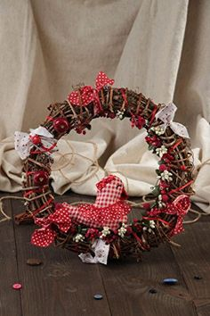 Beautiful Handmade Decorative Wooden And Cotton Interior Wreath With Bird *** This is an Amazon Affiliate link. Continue to the product at the image link.