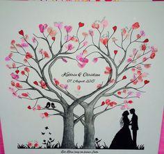 Wedding Tree Herz Fingerabdruck Baum Hochzeit Geschenk Leinwand 50x50/60x60cm