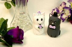 Cat Wedding Cake Toppers por Genialskies en Etsy