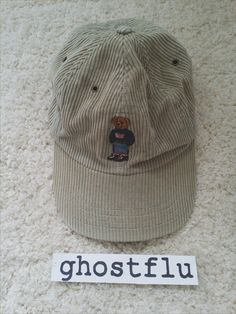 f90b4e97 Vintage Rare Polo Ralph Lauren Tan Khaki Corduroy Embroidered USA Teddy Bear  - Adjustable Baseball Hat Cap