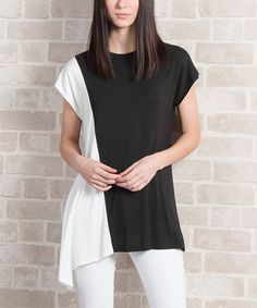 Loving this Ivory & Black Color Block Sidetail Top on #zulily! #zulilyfinds