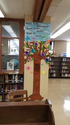 My library grow tree with book flowers, 3d butterflies and an inspirational quote :)