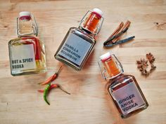 As easy as mixing together a few common kitchen ingredients with standard liquors, these festive flavors make delicious holiday cocktails. Get the recipes for three delicious flavors: Ginger Anise Vodka, Hot and Spicy Vodka, and Vanilla Cinnamon Bourbon.