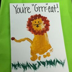 fathers day footprints | Lion footprint Father's Day card