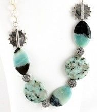 This stunning statement necklace by Moondit Designs is hand crafted with total care, love and attention to detail. Ocean's Deep is a limited edition piece and a must have for your jewellery collection. Made using Kiwi Stone, Amazonite and .925 Sterling Silver all Moondit Designs jewellery is 100% guaranteed for quality workmanship and comes in a special wooden and leather box to ensure that the gift you give or receive is incredibly special. $160