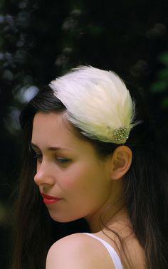 Voilette headband mariage avec plumes ivoire,bijoux tête plumes,serre ...