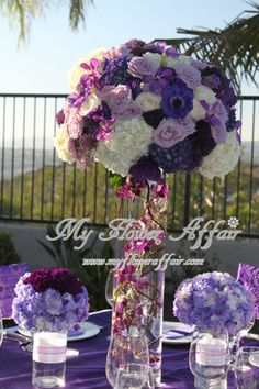 Purple wedding flowers by My Flower Affair. www.myfloweraffair.com