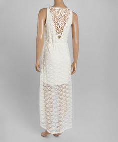 Loving this Nude Crochet Hi-Low Maxi Dress on #zulily! #zulilyfinds