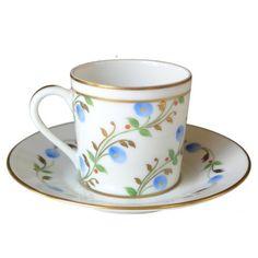 Limoges Porcelain Espresso Cup and Saucer - Pompadour Collection