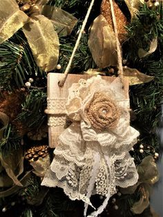 Christmas Ornament Shabby Chic Ornament Lace Ornament Door