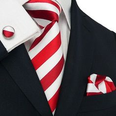 New Men's Stripes Red And White Pure Silk Tie Set TheDapperTie.