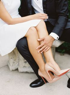Nude pointed toe Christian Louboutin red sole pumps: http://www.stylemepretty.com/2016/11/28/charlottesville-engagement-session/ Photography: Michael and Carina - http://www.michaelandcarina.com/