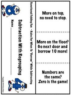 Subtraction With Regrouping.... Elementary Paper Folding Flap Books For All Subject Areas! Just print, fold, cut and you are ready to go! This unit now has a Table of Contents and Optional Lined Inserts for each foldable! $