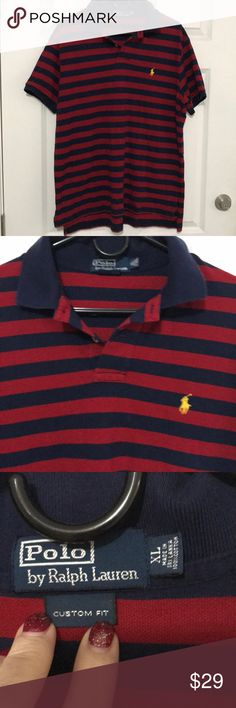 Men's Polo by Ralph Lauren Red and blue stripe short sleeved shirt. Has yellow polo emblem. Worn once. Polo by Ralph Lauren Shirts Polos