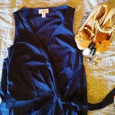 Navy Blue wrap dress Classic navy blue wrap dress, from the Loft LOFT Dresses