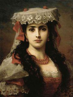 Portrait of a Young Spanish Woman by Austrian Painter Anton Ebert 1845 - 1896…