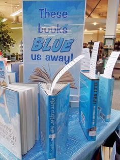 "Thomas Public Library's Readers Advisory Committee decided to continue our colour-based theme for library displays. This month's theme is ""These books BLUE us away! Teen Library Displays, School Displays, Library Work, Library Boards, Middle School Libraries, Elementary Library, Library Inspiration, Library Ideas, Library Themes"