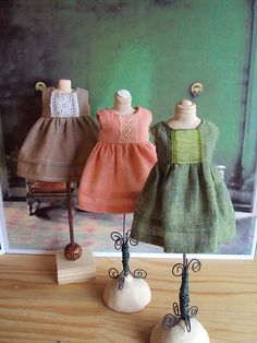 Great small mannequin forms with adorable dresses. Visual merchandising. VM. Retail store display. Fixtures.