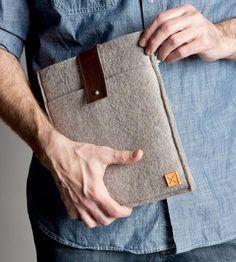 Leather & Wool Felt iPad Sleeve