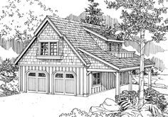 This Craftsman garage plan can park up to two cars. Both doors are the same size at 9' wide and 8' tall. In the back is a shop with sink and a mechanical room. On the second floor there is a loft with space for a sink, cook top and refrigerator. There is also an office and full bathroom on the second floor.