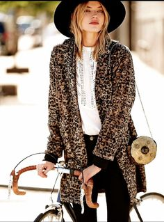 NEW Free People Channeling Leopard Coat brown black wooly XS $298 #FreePeople…