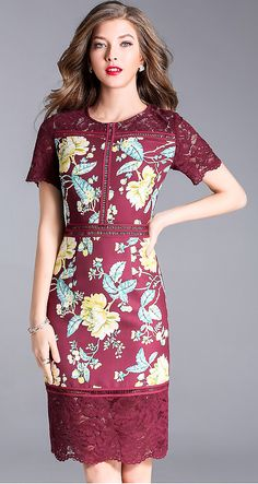 Elegant Embroidered Splicing Bodycon Dress